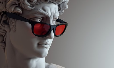 Lamas personalizadas con motivos artísticos con tu foto Bust of David with red glass glasses.