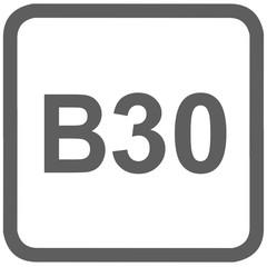 diesel B30 fuel sign - fuel designations in the European Union - biodiesel 30%- fuel alternative - codes - sticker - standardised