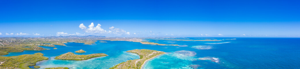Aerial panoramic by drone of coral reef in the crystal clear Caribbean Sea, Antilles, West Indies, Caribbean, Central America Fotobehang