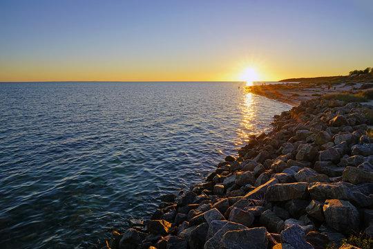 Colorful sunset sky over Shark Bay in Denham, Western Australia