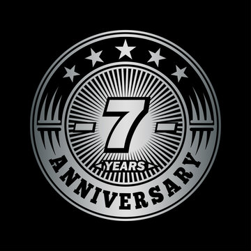 7 years anniversary celebration logo design. Vector and illustration.