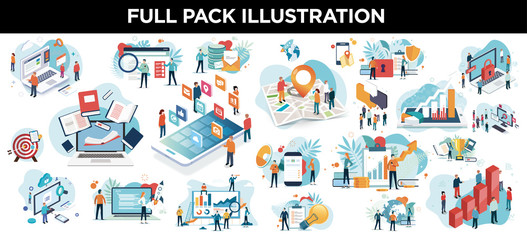 illustration business Wall mural