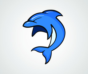 The blue dolphin jumps. Vector illustration, isolated, on white background.