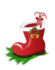roter Stiefel mit Süßigkeiten für das Weihnachtsfest, weihnachtliche Tradition