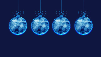 Template for New Year or Christmas background from blue polygonal Christmas balls.