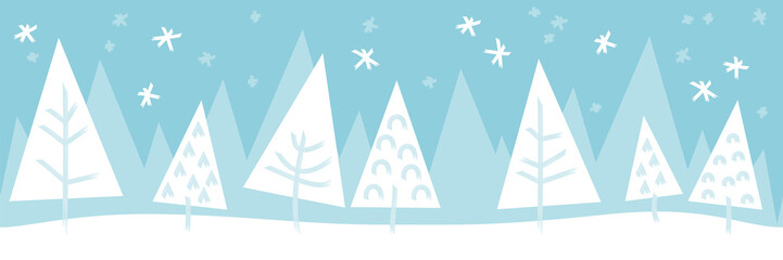 Wall Mural - Christmas tree winter snow landscape seamless pattern background banner