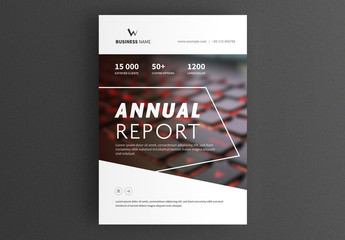 Business Report Cover Layout with Keyboard Image