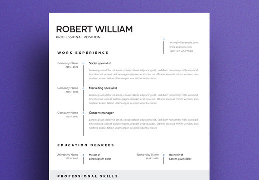Minimalist Resume Layout with Black and White Accents