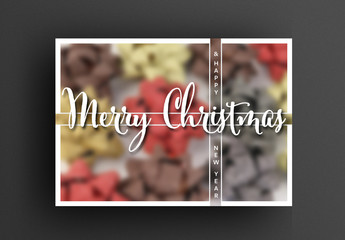 Christmas Card Layout with Blurred Background