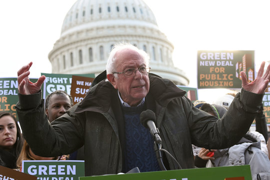 U.S. presidential candidate Sen. Sanders announces introduction of public housing legislation as part of the Green New Deal in Washington