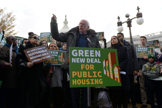 U.S. presidential candidate Sen. Sanders and Rep. Ocasio-Cortez announce introduction of public housing legislation as part of the Green New Deal in Washington