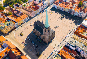 Aerial view to The cathedral of St. Bartholomew. Gothic church located on the Main Square in Pilsen.  Spire height is 102.3 m. Beautiful Czech landmark. Fotomurales