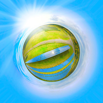 360 degrees aerial panorama to solar power plant. Tiny planet with environmentally friendly electricity. Industry and renewable resources theme.