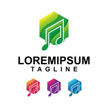 Hexagonal Music Logo Design Premium