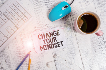 Conceptual hand writing showing Change Your Mindset. Concept meaning replace your beliefs way of thinking mental path Technological devices colored reminder paper office supplies