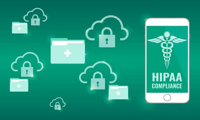 Illustration of Hipaa Compliance. Cloud Security for data privacy and protected health information (PHI) concept. Locked cloud and folder.
