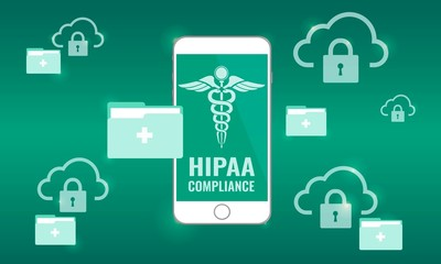 Illustration of Hipaa Compliance. Cloud Security for protected health information (PHI) concept. Locked cloud and folder.