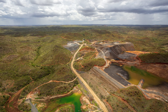 Aerial view from a helicopter of a nickel mine near Warmu in the remote Kimberley region of Western Australia.