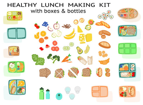 Lunch making Kit lunchbox with healthy sandwich food fruit vegetables and boxes bento box