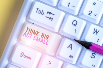 Handwriting text Think Big Act Small. Conceptual photo Great Ambitious Goals Take Little Steps one at a time White pc keyboard with empty note paper above white background key copy space