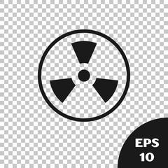 Black Radioactive icon isolated on transparent background. Radioactive toxic symbol. Radiation Hazard sign. Vector Illustration