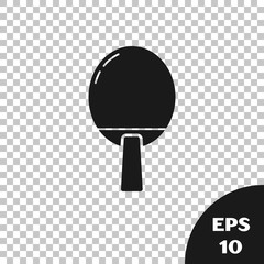Black Racket for playing table tennis icon isolated on transparent background. Vector Illustration