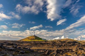 Reykjanes Lighthouse on Baejarfell hill in the Reykjanes peninsula, South of Iceland