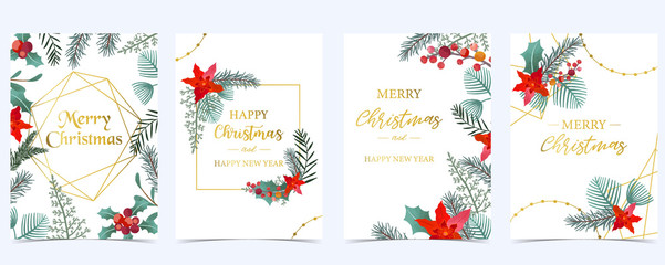 Collection of Christmas background set with holly leaves,flower,geometric.Editable vector illustration for New year invitation,postcard and website banner Fotomurales