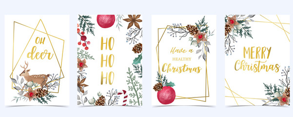 Collection of Christmas background set with holly leaves,flower,geometric.Editable vector illustration for New year invitation,postcard and website banner Wall mural