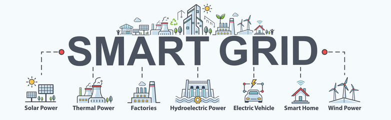 Smart grid banner web icon for sustainable energy and Industrial,  solar power, thermal, hydroelectric, electric vehicle, smart home and wind power. Minimal vector infographic.