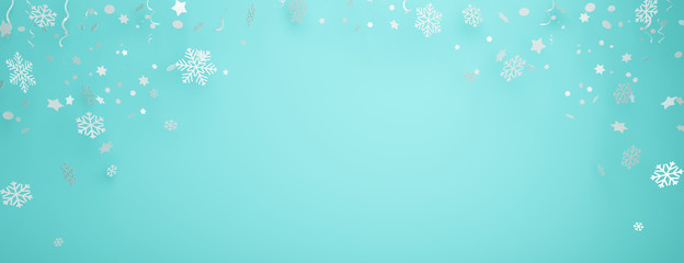 Winter abstract design creative concept, snow icon confetti glitter scattering on blue pastel background. 3D rendering illustration.