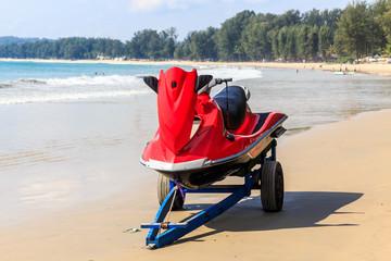 Jetski on trailer on Bang Tao beach