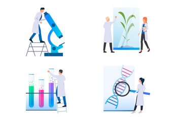 Set of images of scientists exploring material under microscope. Technology, chemistry, laboratory, DNA. Vector illustration with science concept for banner, website design or landing web page