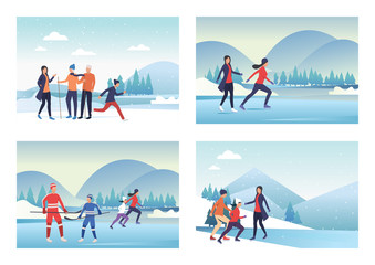 Set of images with people going in for winter sports. Vector illustration. Season, nature. Winter activity concept for banner, website design or landing web page