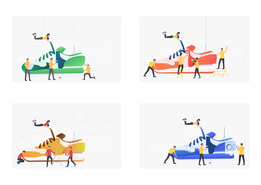 Set of people making shoes. Flat vector illustrations of designers creating trainers. Shoemaking concept for banner, website design, landing web page