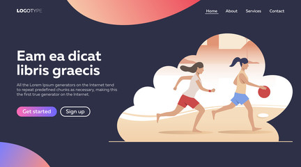 Flat vector illustration of women going in for sports. Competition, equipment, athlete. Vector illustration. Sport concept for banner, website design or landing web page