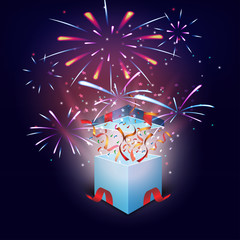 Gift boxes opening celebrated with colorful fireworks background