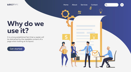 People agreeing on contract. Money, deal, partners technology flat vector illustration. Business concept for banner, website design or landing web page