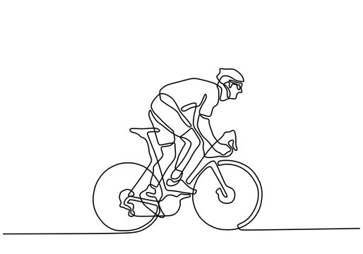 Continuous one line cyclist in helmet riding a bicycle. Minimalist design drawing of sportsman doing sport competition.