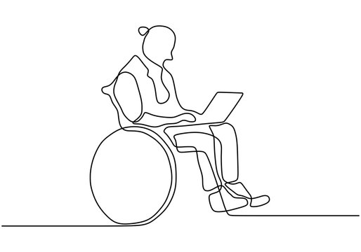 Continuous line drawing of disability man sit on wheelchair working with a laptop. Concept of Person with physical injury can still doing activity.