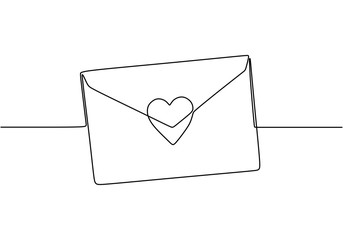 Continuous line drawing of Love letter with heart. Vector romantic mail for cards and invitation good for Valentine's day theme. Fototapete