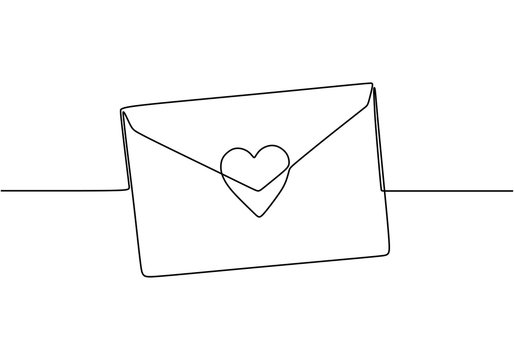 Continuous line drawing of Love letter with heart. Vector romantic mail for cards and invitation good for Valentine's day theme.