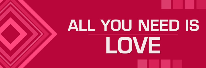 All You Need Is Love Pink Squares Borders Horizontal