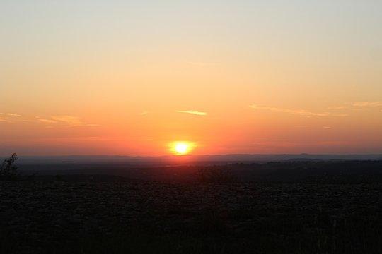 Breathtaking scenery of the sunset at Hidden Falls, Austin, Texas