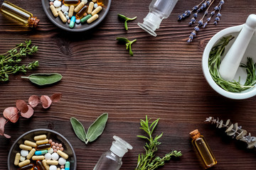 Apothecary of natural wellness and self-care. Herbs and medicine on dark wooden background top view frame copy space Fototapete