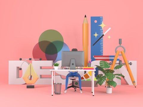 Girl web designer in a working environment. 3d icons and graphic design elements on a pink background. Concept illustration for web page or banner. 3d rendering.
