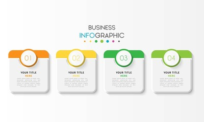 Vector infographic design template with 4 options or steps. Can be used for process diagram, workflow layout, info graph, annual report, flow chart. Vector Illustration