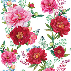 flowers seamless pattern for printing on textiles, Wallpaper .red and pink peonies. illustration watercolor hand painting