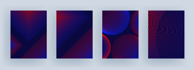 Blue and red color stripe pattern in different style on purple background.