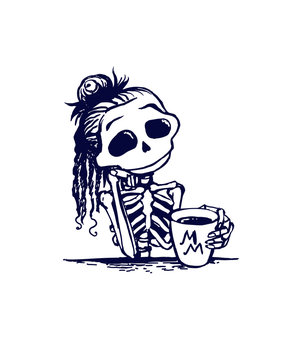 Cute skeleton girl character is drinking morning coffee. Memento mory